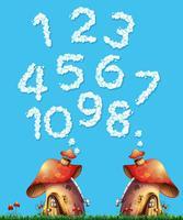 Pilzhaus und Wolkennummer vektor