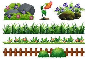 En uppsättning av trädgårdselement