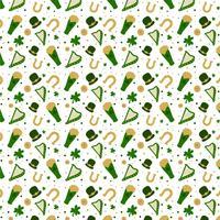 St. Patrick's Pattern mit Hut, Bier, Klee, Münze und Harfe