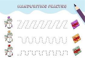Handschriftübungen für Kinder im Vorschulalter. Tracing-Linien mit buntem Weihnachtsschneemann und Geschenkbox. vektor