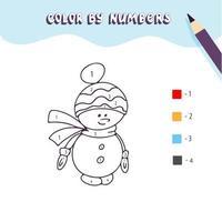 Malvorlagen mit süßem Weihnachtsschneemann. Farbe nach Zahlen. pädagogisches Kinderspiel, Kinderaktivität zeichnen, druckbares Arbeitsblatt. vektor