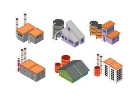Sats av stads- och industribyggnader i isometrisk