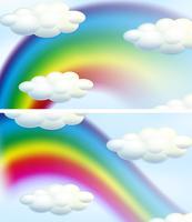 Två himmel bakgrund med regnbågar vektor