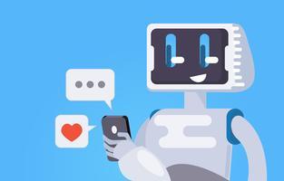 Chatt Bot Gratis Bakgrund. Roboten håller telefonen, svarar på meddelanden. Vektor platt illustration