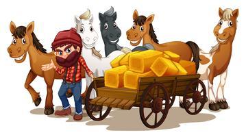 Bonde och hästar vektor
