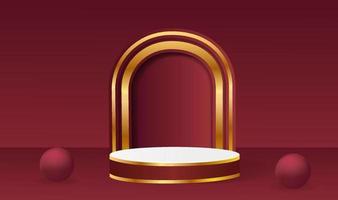 abstrakte Vektor-Rendering 3D-Form für die Platzierung des Produkts mit Kopienraum. modernes rundes Podest in Rot und Gold mit geometrischem Hintergrund vektor