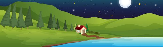 Bakgrundsscen med litet hus vid sjön