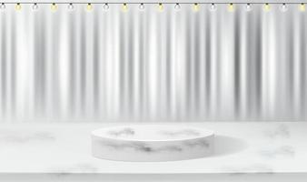 realistisches weißes Podium auf weißem Seidenstoffhintergrund vektor