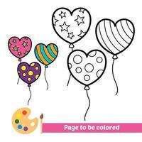 Malbuch, Herzballons Vektorbild vektor