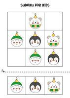 Sudoku-Spiel für Kinder mit Weihnachtskugeln. vektor