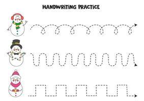 Verfolgen von Linien mit niedlichen Cartoon-Schneemännern. Schreiberfahrung. vektor