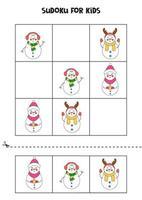 Sudoku-Spiel für Kinder mit niedlichen Cartoon-Schneemännern. vektor