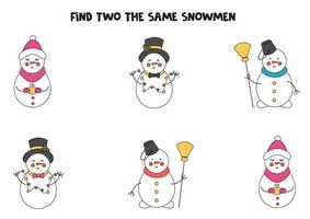 Finde zwei identische Weihnachtsschneemänner. Lernspiel für Kinder im Vorschulalter. vektor