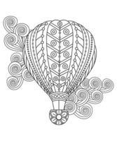 Heißluftballons im floralen Stil. Erwachsene Malvorlagen vektor
