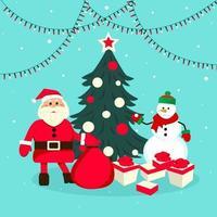 Weihnachtsmann mit einer Tüte Geschenke in der Nähe des Weihnachtsbaums. Weihnachtsbaum und Geschenke. Vektor-Illustration. vektor