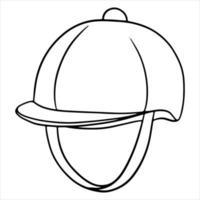 Outfit des Reiters Schutz des Kopfes einer Jaquette-Helmillustration im Linienstil-Malbuch vektor
