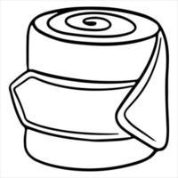 Geschirr für einen Pferdeschutzverband für die Beine einer Pferdevektorillustration im Linienstil für ein Malbuch vektor