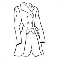 Outfit Reiterkleidung für Jockeyjacke Illustration im Linienstil Malbuch vektor