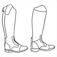 Outfit Reiterkleidung für Jockeystiefel Illustration im Linienstil Malbuch vektor