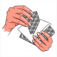 Glücksspiel. Spielkarten in den Händen. Casino, Glück, Fortuna. sechs Karten verdeckt. vektor