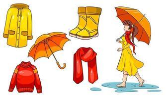 Herbst eingestellt. Mädchen mit Regenschirm, Schal, Regenmantel, Pullover, Gummistiefel, Regenschirm. . vektor