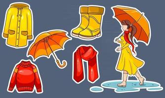 Herbst eingestellt. Aufkleber. Mädchen mit Regenschirm, Schal, Regenmantel, Pullover, Gummistiefel, Regenschirm. vektor