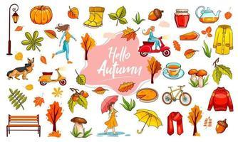 Herbst eingestellt. eine große Sammlung von Objekten und Personen, die dem Herbst gewidmet sind. vektor