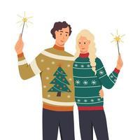 ein paar in hässlichen Pullovern mit Wunderkerzen. ein junger mann und eine frau feiern das neue jahr, weihnachten. flache Cartoon-Vektor-Illustration vektor