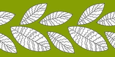 stilisierte Blattzeichnung mit dünnen Linien. Blätter - nahtlose Abbildung. Blattbaumzweig, Busch. vektor