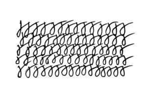 Doodle Handschrift abgerundete Illustration auf weißem Hintergrund im flachen Stil. willkürlich sich wiederholende Designelemente werden mit einem Stift geschrieben vektor