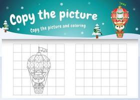 Kopieren Sie das Bild Kinderspiel und die Malvorlage mit einem süßen Reh auf einem Heißluftballon vektor