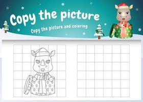 Kopieren Sie das Bild Kinderspiel und die Malvorlage mit einem süßen Nashorn im Weihnachtskostüm vektor