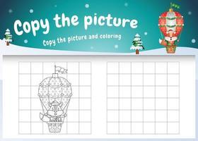 Kopieren Sie das Bild Kinderspiel und die Malvorlage mit einem süßen Fuchs auf einem Heißluftballon vektor