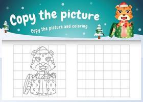 kopiere das bild kinderspiel und die ausmalseite mit einem süßen tiger mit weihnachtskostüm vektor