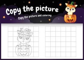 Kopieren Sie das Bild Kinderspiel und die Malvorlage mit einem süßen Reh im Halloween-Kostüm vektor