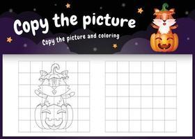 kopiere das bild kinderspiel und die ausmalseite mit einem süßen fuchs mit halloween-kostüm vektor