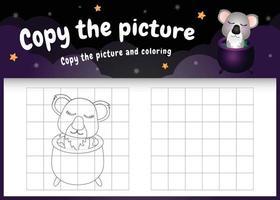 kopiere das bild kinderspiel und die ausmalseite mit einem süßen koala im halloween-kostüm vektor