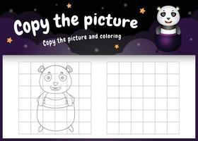 kopiere das bild kinderspiel und die ausmalseite mit einem süßen panda mit halloween-kostüm vektor