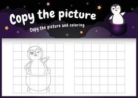 Kopieren Sie das Bild Kinderspiel und die Malvorlage mit einem süßen Pinguin im Halloween-Kostüm vektor
