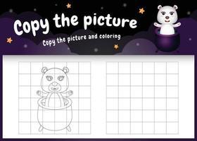 Kopieren Sie das Bild Kinderspiel und die Malvorlage mit einem süßen Eisbären im Halloween-Kostüm vektor