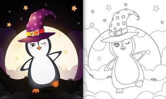 Malbuch mit einem niedlichen Cartoon-Halloween-Hexe-Pinguin vor dem Mond vektor