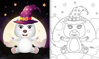 Malbuch mit einem niedlichen Cartoon Halloween Hexe Eisbär vor dem Mond vektor