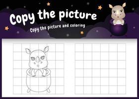 Kopieren Sie das Bild Kinderspiel und die Malvorlage mit einem süßen Nashorn im Halloween-Kostüm vektor
