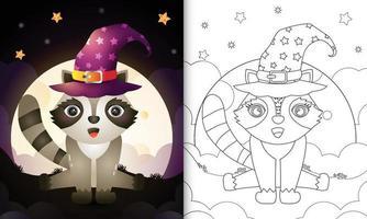Malbuch mit einem niedlichen Cartoon Halloween Hexe Waschbär vor dem Mond vektor