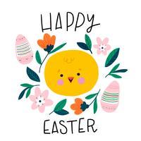 cte liten kyckling leende med rosa ägg, blommor och löv