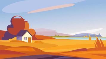 Herbstlandschaft mit Haus am Ufer des Flusses. vektor