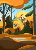 dichter Wald in der Herbstsaison. Naturlandschaft in vertikaler Ausrichtung vektor