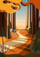 Straße im Herbstwald bei Sonnenuntergang. Landschaft in vertikaler Ausrichtung. vektor