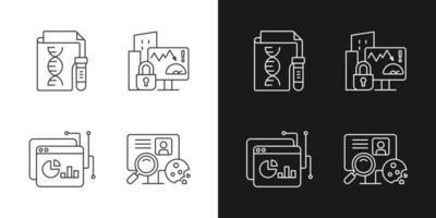 Lineare Symbole für sensible Datentypen, die für den dunklen und hellen Modus festgelegt sind vektor