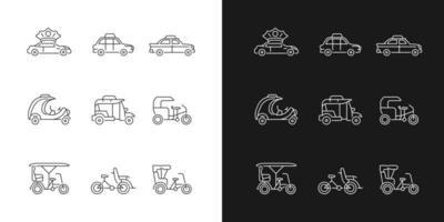 Taxi-Typen lineare Symbole für den dunklen und hellen Modus vektor